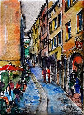 Lyon Cityscape - Street Scene #04 - Rue Du Boeuf Print by Mona Edulesco