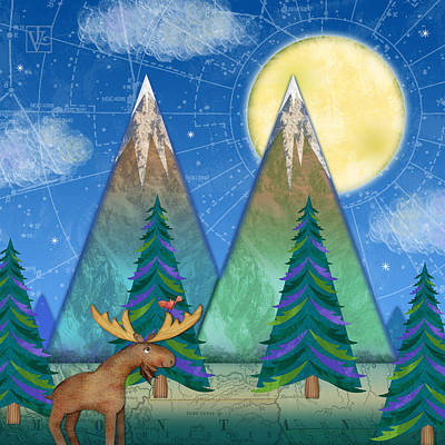 Moose Mixed Media Digital Art - M Is For Mountains And Moon by Valerie Drake Lesiak