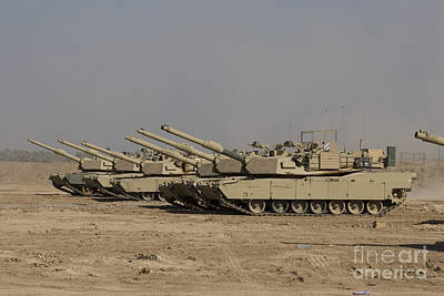 Armored Fighting Vehicles Photograph - M1 Abrams Tanks At Camp Warhorse by Terry Moore