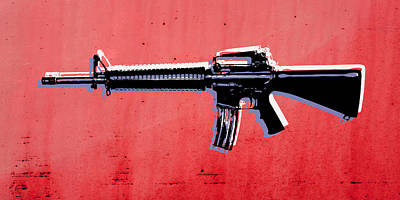 M16 Assault Rifle On Red Print by Michael Tompsett