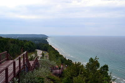 Lakeshore Digital Art - M22 Scenic Lake Michigan Overlook  by Michelle Calkins