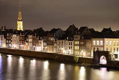 Maas River At Night Print by Carol Vanselow