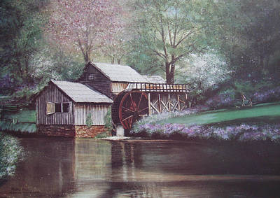 Grist Mill Painting - Mabry Mills by Charles Roy Smith
