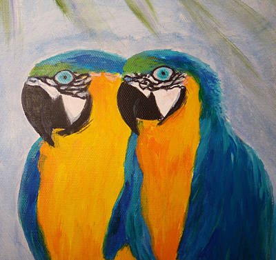 Blue And Gold Macaw Painting - Macaw Heads by Anne Marie Brown