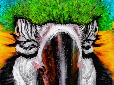 Macaw Digital Art - Macaw Upclose by Ernie Echols