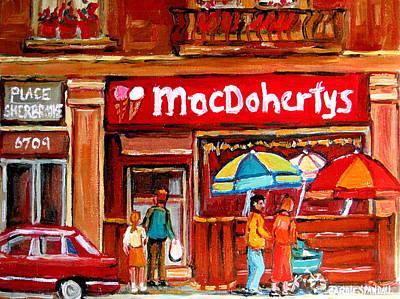 Montreal Buildings Painting - Macdohertys Icecream Parlor by Carole Spandau