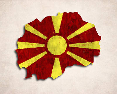 Tourism Digital Art - Macedonia Map Art With Flag Design by World Art Prints And Designs