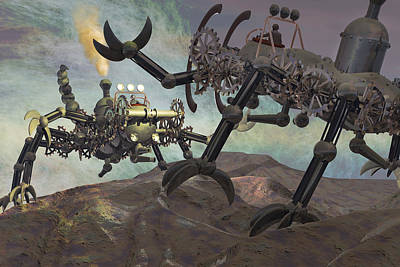 Steampunk Engines Of War Print by Carol and Mike Werner