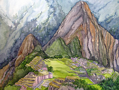 Peru Painting - Machu Picchu The Lost City Of The Incas by Bonnie Sue Schwartz