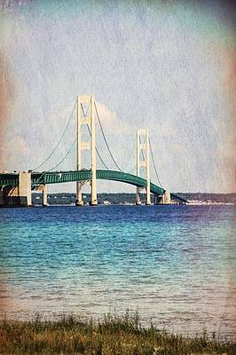 Tourist Attraction Mixed Media - Mackinac Bridge Color Grunge by Dan Sproul