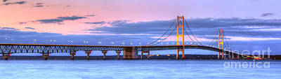 Mackinac Photograph - Mackinac Bridge In Evening by Twenty Two North Photography