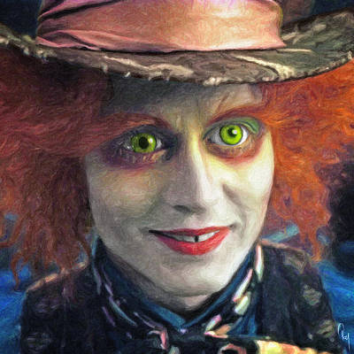 Johnny Depp Painting - Mad Hatter by Taylan Apukovska