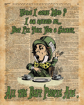 Mad Hatter,alice In Wonderland,madness Quote Vintage Dictionary Artwork Print by Jacob Kuch
