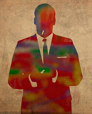 Mad Men Mixed Media - Mad Men Watercolor Silhouette Painting On Worn Parchment No 1 by Design Turnpike