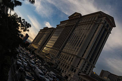 Mad Rush For Cash - Flamingo Road At Caesars Palace In Las Vegas Print by Georgia Mizuleva