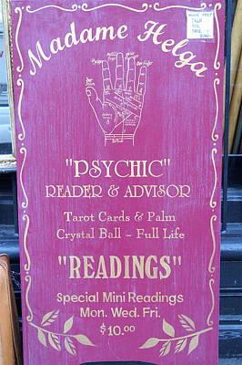 Madam Helga Psychic Sign Print by Paulo Roberto Ferreira