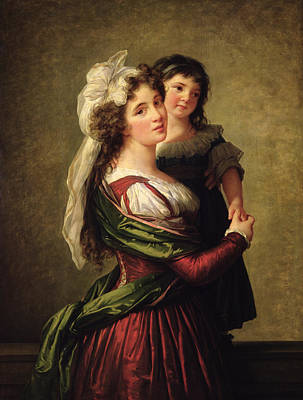 Et Painting - Madame Rousseau And Her Daughter by Elisabeth Louise Vigee Lebrun