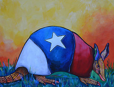 Western Themed Painting - Made In Texas Armadillo by Patti Schermerhorn