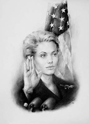 Senate Drawing - Madelaine Albright Featured By Angelina Jolie by Michael Klimusha