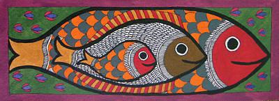 Madhubani Triple Fish Inside Fish Trible Painting Folk Artwork Miniature Artwork India.  Print by A K Mundra