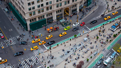 Miniature Effect Photograph - Madison Square Traffic I by Clarence Holmes