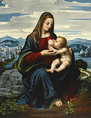 Oggiono Painting - Madonna And Child Before A Landscape by Marco d'Oggiono