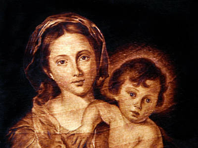 Pyrography - Madonna And Child Detail by Dino Muradian
