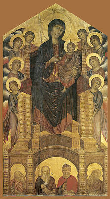 Madonna And Child Enthroned With Eight Angels Print by Cimabue