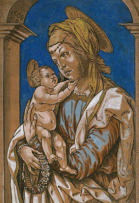 Jesus Art Drawing - Madonna And Child Under An Arch by Hans Burgkmair