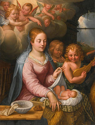 Hendrik Goltzius Painting - Madonna And Child With Angels by Hendrik Goltzius