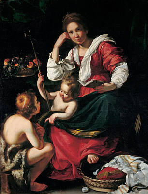 Painting - Madonna And Child With Infant Saint John by Bernardo Strozzi
