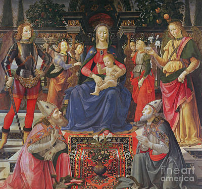 Madonna And Child With Ss Justus, Zenobius And The Archangels Michael And Raphael Print by Domenico Ghirlandaio