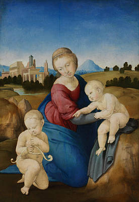 Madonna And Child With The Infant Saint John Print by Raphael