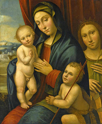 Painting - Madonna And Child With The Infant Saint John The Baptist And Saint Catherine Of Siena by Bartolomeo Ramenghi