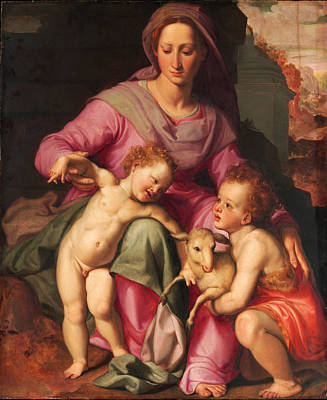 Santi Di Tito Painting - Madonna And Child With The Infant Saint John The Baptist by Santi di Tito