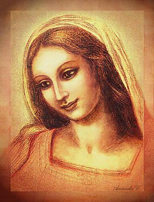 Jesus Mixed Media - Madonna Drawing by Ananda Vdovic