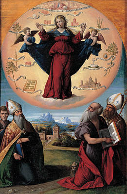 Benvenuto Tisi Painting - Madonna In Glory And Holy Hones by Benvenuto Tisi