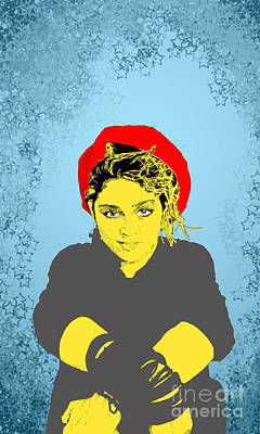 Madonna On Blue Print by Jason Tricktop Matthews
