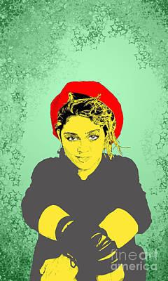 Madonna On Green Print by Jason Tricktop Matthews