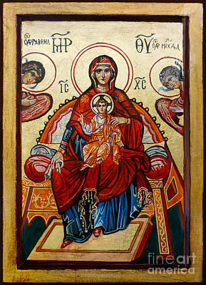 Jesus Christ Icon Painting - Madonna With Child And Angels by Ryszard Sleczka