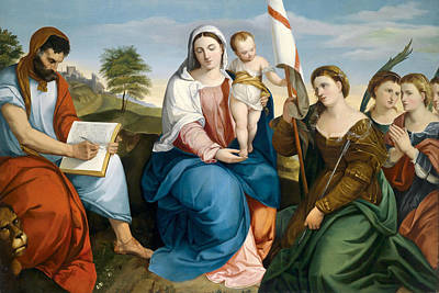 Painting - Madonna With Child And Saint Mark The Evangelist And Ursula With Virgins by Johann Matthias Ranftl