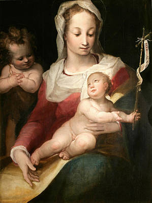 Alessandro Casolani Painting - Madonna With Child And Young Saint John by Alessandro Casolani