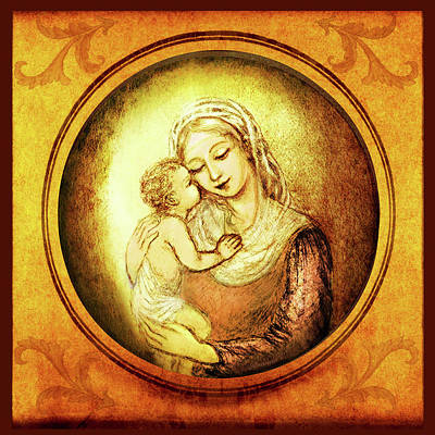 Madonna With The Kissing Child - In Golden Frame Print by Ananda Vdovic