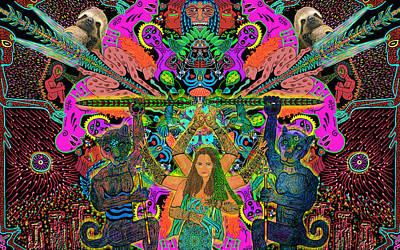 Sloth Mixed Media - Madre Medicina Y Los Espiritos Poderosos by Myztico Campo