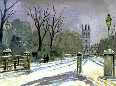 Education Painting - Magdalen Bridge Looking Towards Magdalen College Tower by Mike Lester