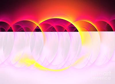 Abstract Digital Art - Magenta Orbs by Kim Sy Ok