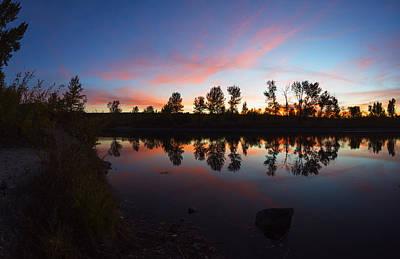 Magenta Sunset Over Boise River In Boise Idaho Print by Vishwanath Bhat