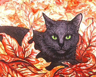 Cat Painting - Magic In Fall Leaves by Linda Mears