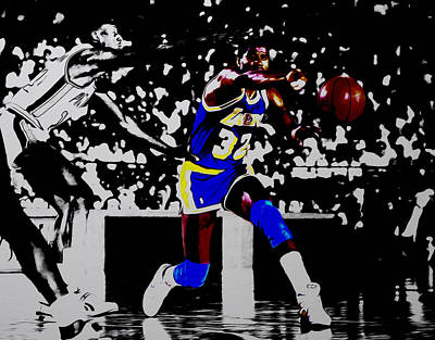 Magic Johnson Mixed Media - Magic Johnson Bounce Pass by Brian Reaves