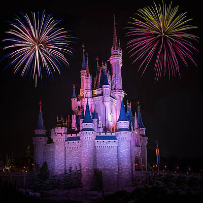 Magic Kingdom Castle Under Fireworks Square Print by Chris Bordeleau